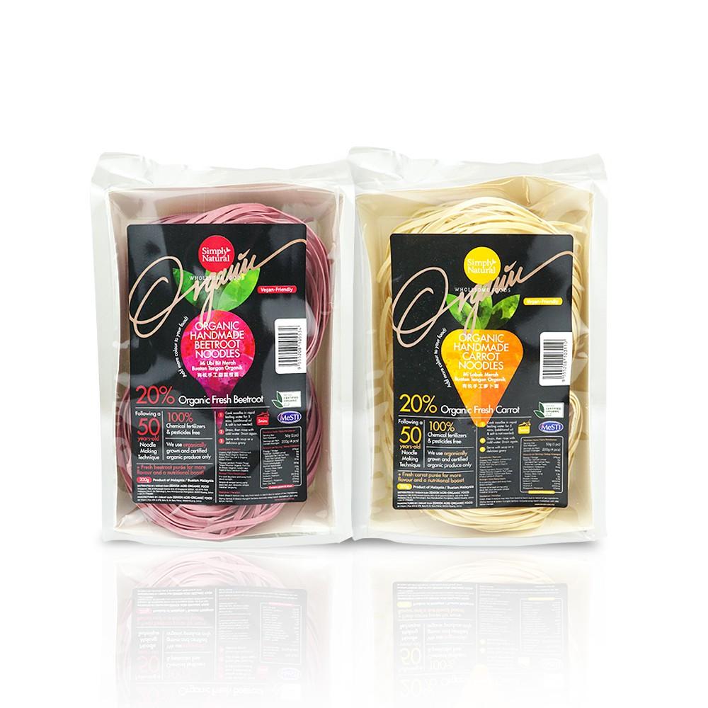 1x BeetRoot and 1x Carrot  Zenxin Organic Noodle | 8 serving, 400g |100% Organic | Natural Fresh | 20% Puree
