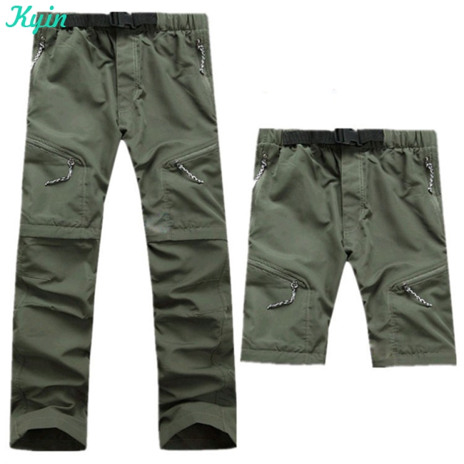 Men  Summer thin outdoor quick-drying detachable pantssection hiking pants UV