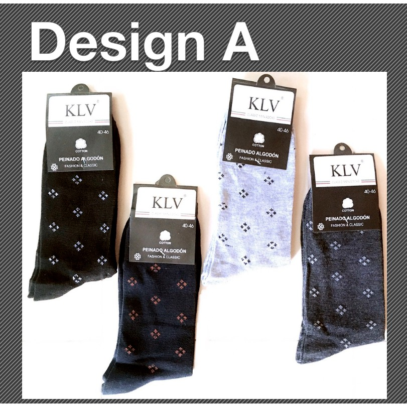 Comfortable Men Cotton Classic Socks Casual Business Breathable Socks Diamond Dots and Plain Black Design