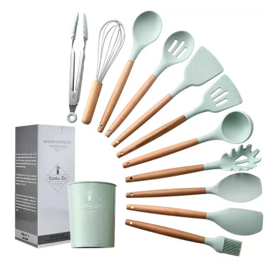 12 Pcs Set Silicone Cooking Utensils不粘锅专用硅胶锅铲12件套炒菜铲子汤勺子厨具