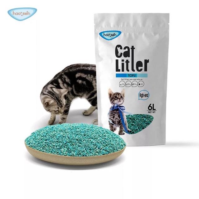 ทรายเต้าหู้เกล็ด 6Lx3ถุง ใช้กับห้องน้ำแมวอัตโนมัติได้ P