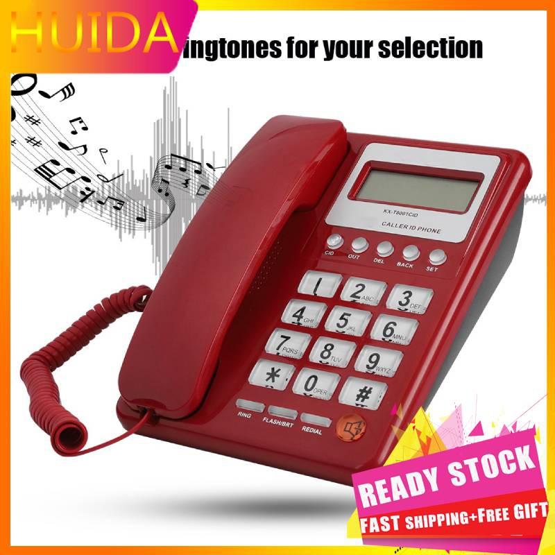 #HUIDA#Corded Phone Big Button Landline Caller ID Desktop Telephone Durable  Home Hotel