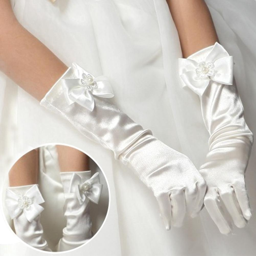 WEDDING BRIDAL PROM FANCY DRESS 30CM IVORY PINK RED SILVER GOLD SATIN GLOVES