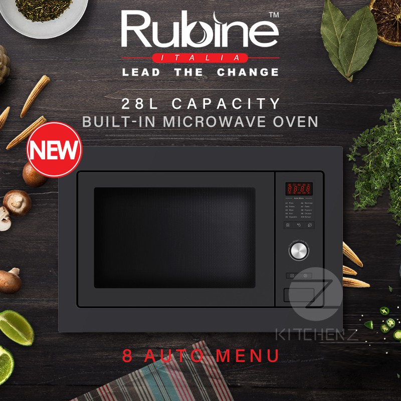 Rubine RMO-OREO-28BL Built-in Microwave Oven with Grill Function 28L