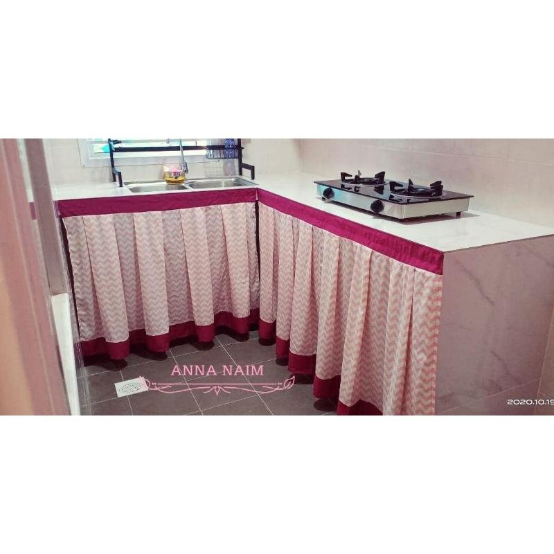 Rekasendiri Langsir Kabinet Dapur Sinki Customized Curtain For Kitchen Table Top With Velcro Tape Shopee Malaysia