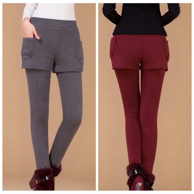 e244758580701f Women Winter Stitching Shorts Leggings Thicken Long Pants Mini Pants 2 in 1    Shopee Malaysia