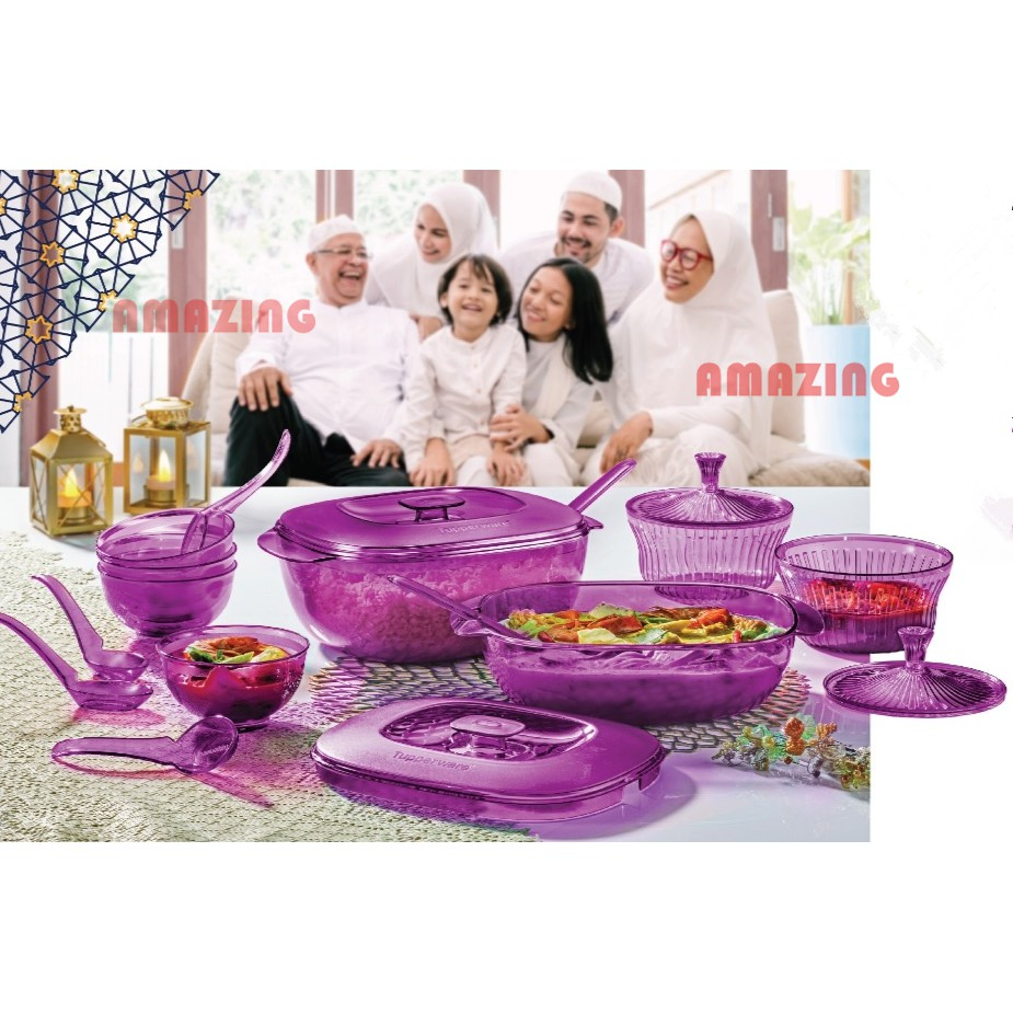 Tupperware Purple Royale Crystalline Set pwp Bowl with Spoon or Small Server