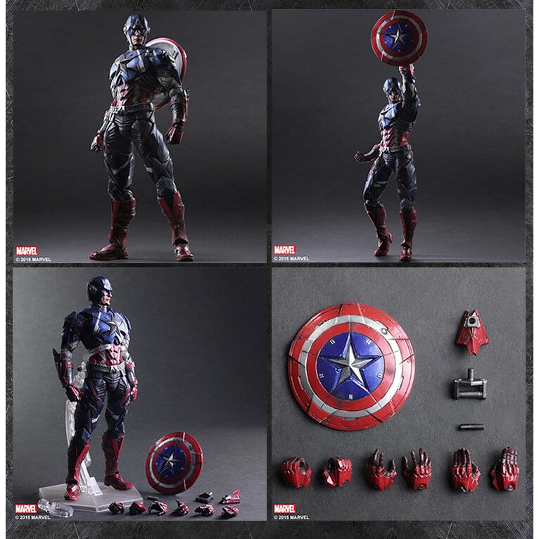 NIB Play Arts Kai  Universe Captain America Action Figures Toy Doll 26CM