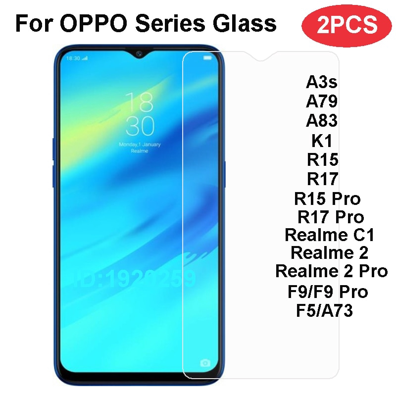 OPPO Realme 2 C1 Pro Protective Glass Film For OPPO F5 A73 A3S A79 A83 R15  R17 Glass Phone Screen Protector Film