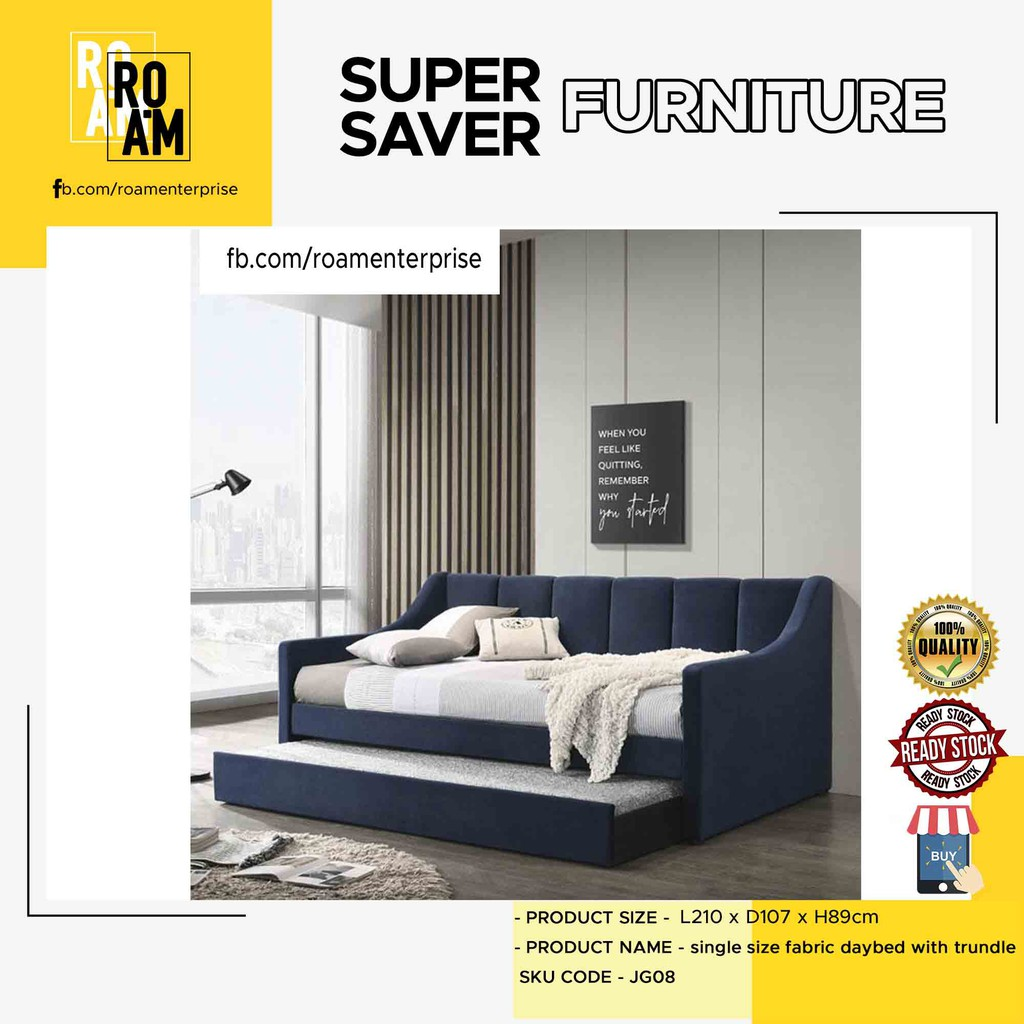 ROISE single size fabric daybed with trundle - DARK BLUE COLOR