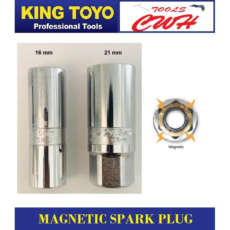 King Toyo Magnetic Spark Plug Box Socket 16/25mm (Thin Wall) STANLEY M10 STAGOOD BONDHUS SATA DEWALT