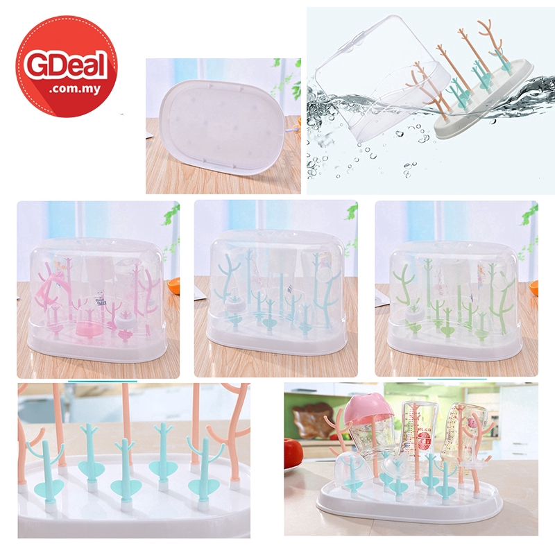 GDeal Baby Dustproof Bottle Drying Rack Dishwasher Storage Box With Handle And Drying Tray At The Bottom