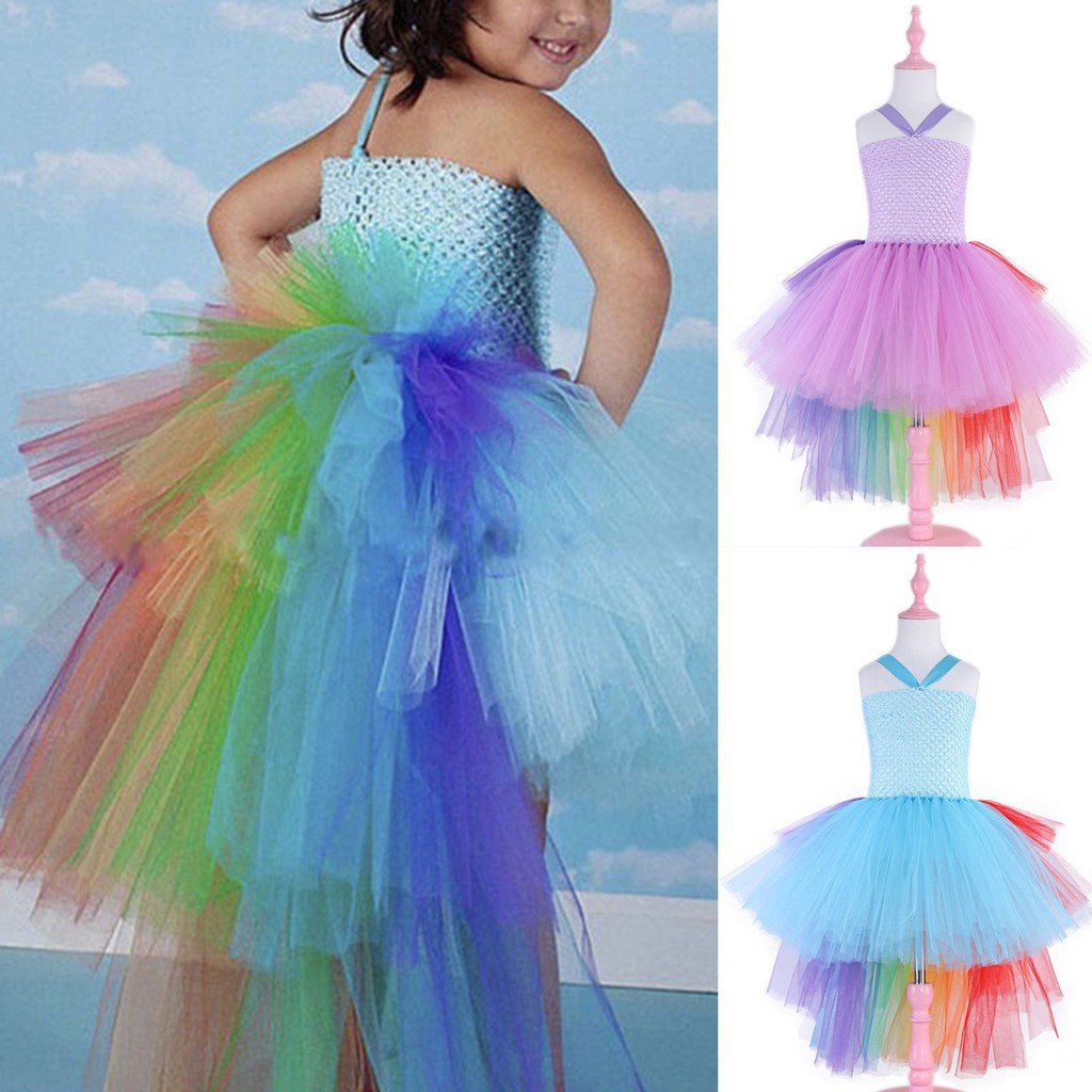 Girls Kid Unicorn Fancy Tutu Dresses Party Formal Dress Up Fairy Cosplay Costume