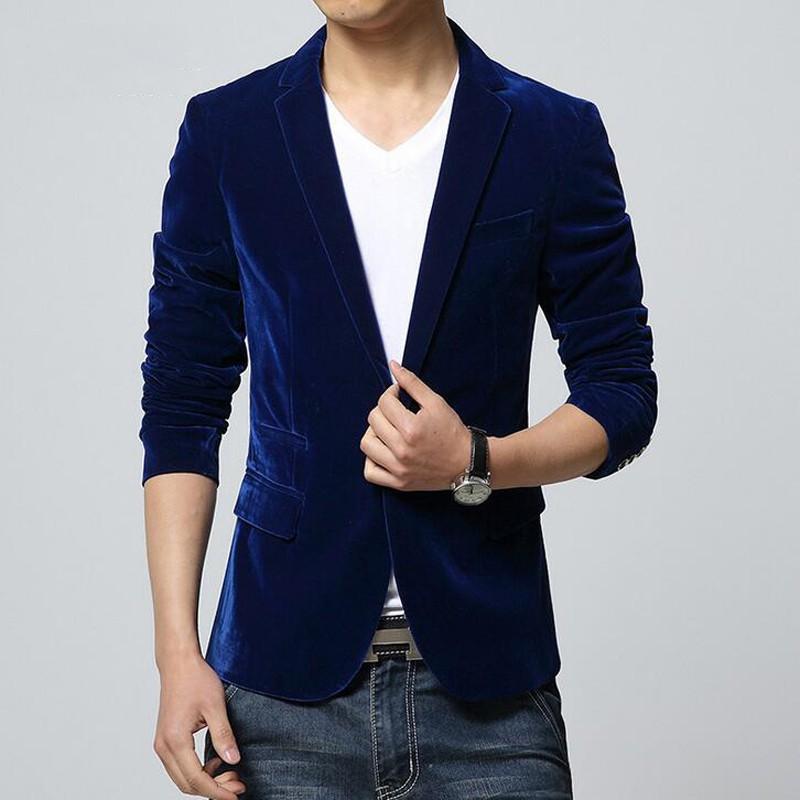 40e18e826 Mens slim fit blazer velvet male suit jacket 2018 spring and autumn coat