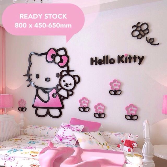 Ready Stock Hello Kitty 3d Acrylic Diy Wall Sticker Wallpaper