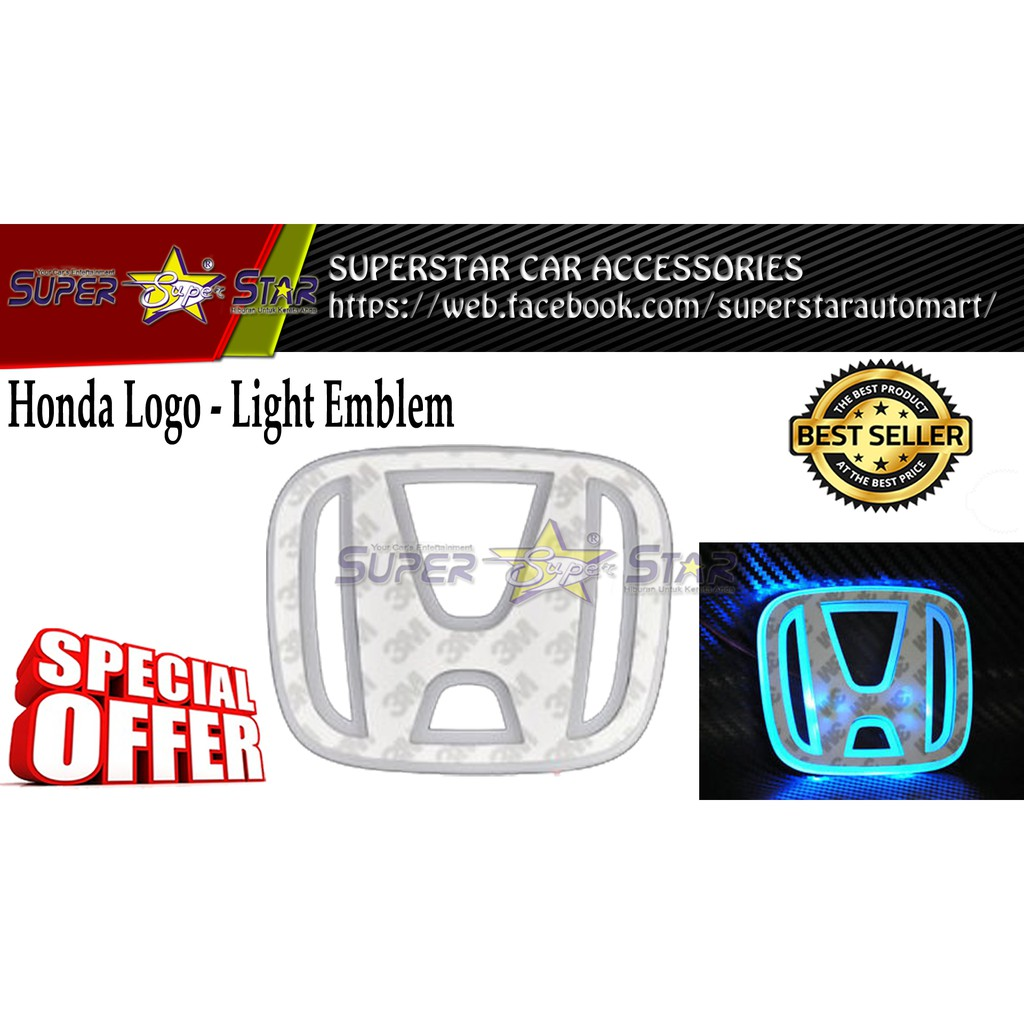 Honda LED Decal Logo - Light Emblem (BLUE)