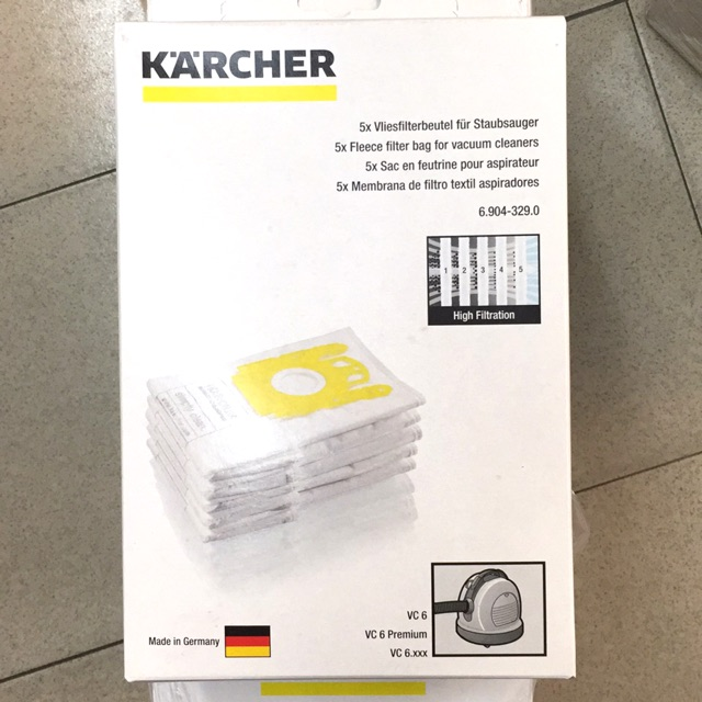 5 x KARCHER Vacuum Cleaner Filtered Bag Hoover Bags Dust Filter WD2200 WD2250