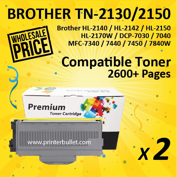2 unit Brother TN-2130 Compatible High Quality Toner Cartridge