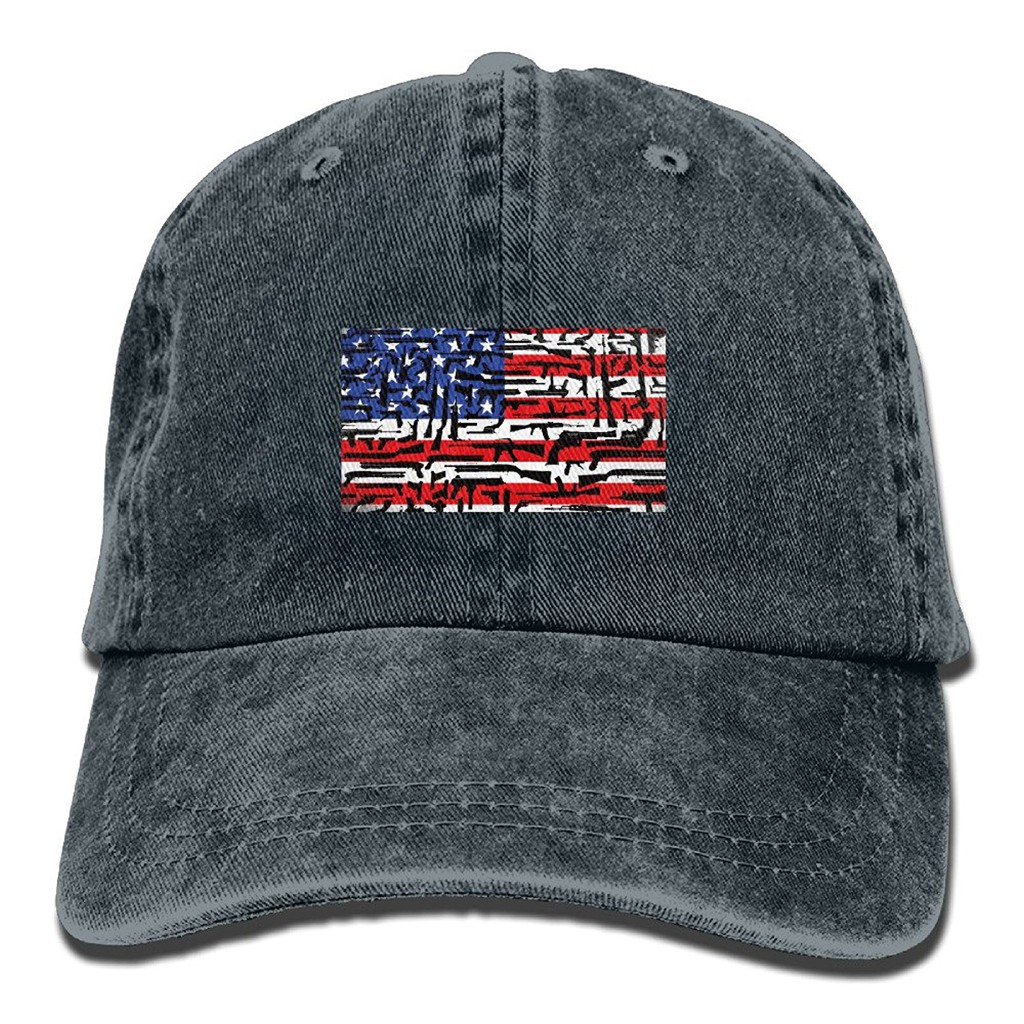 c4a65f7b4 USA Flag Guns Washed Denim Cotton Sport Outdoor Baseball Cap