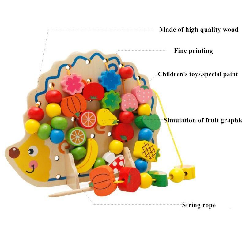 Threading Buttons Hand Eye Coordination Developmental Sewing Wooden Kids Fun Toy