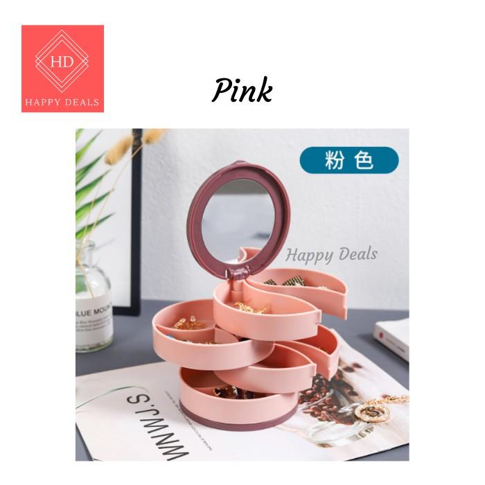 Happy Deals Jewellery Box / Jewellery Organizer / Jewelry Box With Mirror / ABS Box / Plastic Box / Rotatable Box