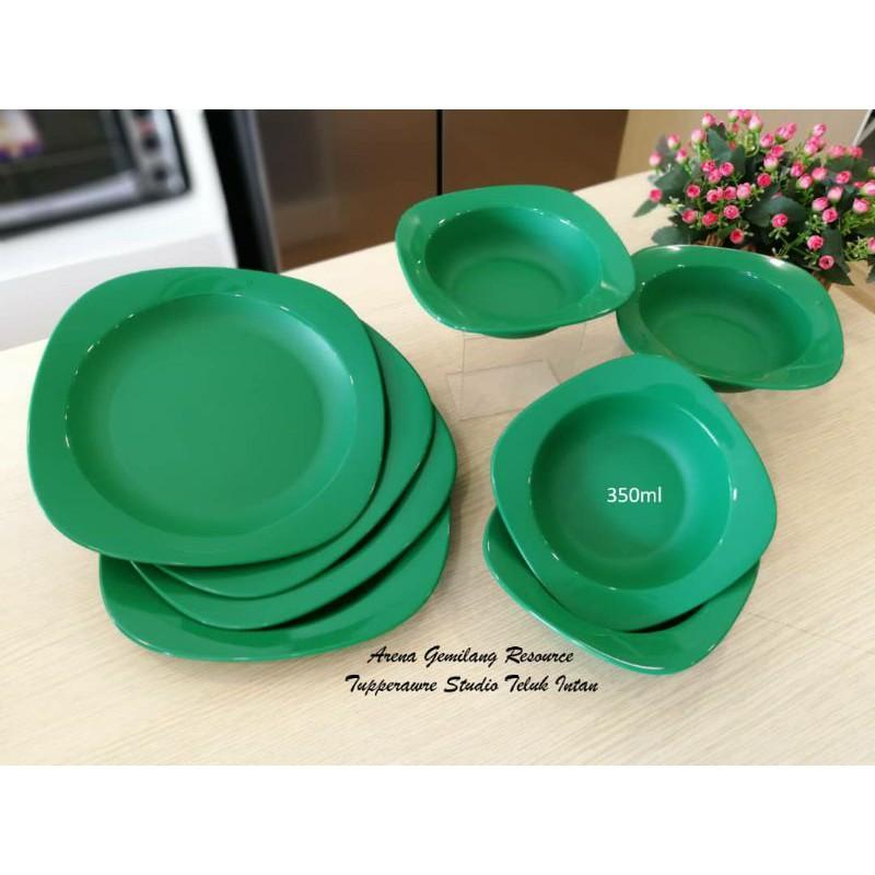 [TUPPERWARE] Emerald plates and bowls 350ml Mugs pinggan mangkuk cawan hijau