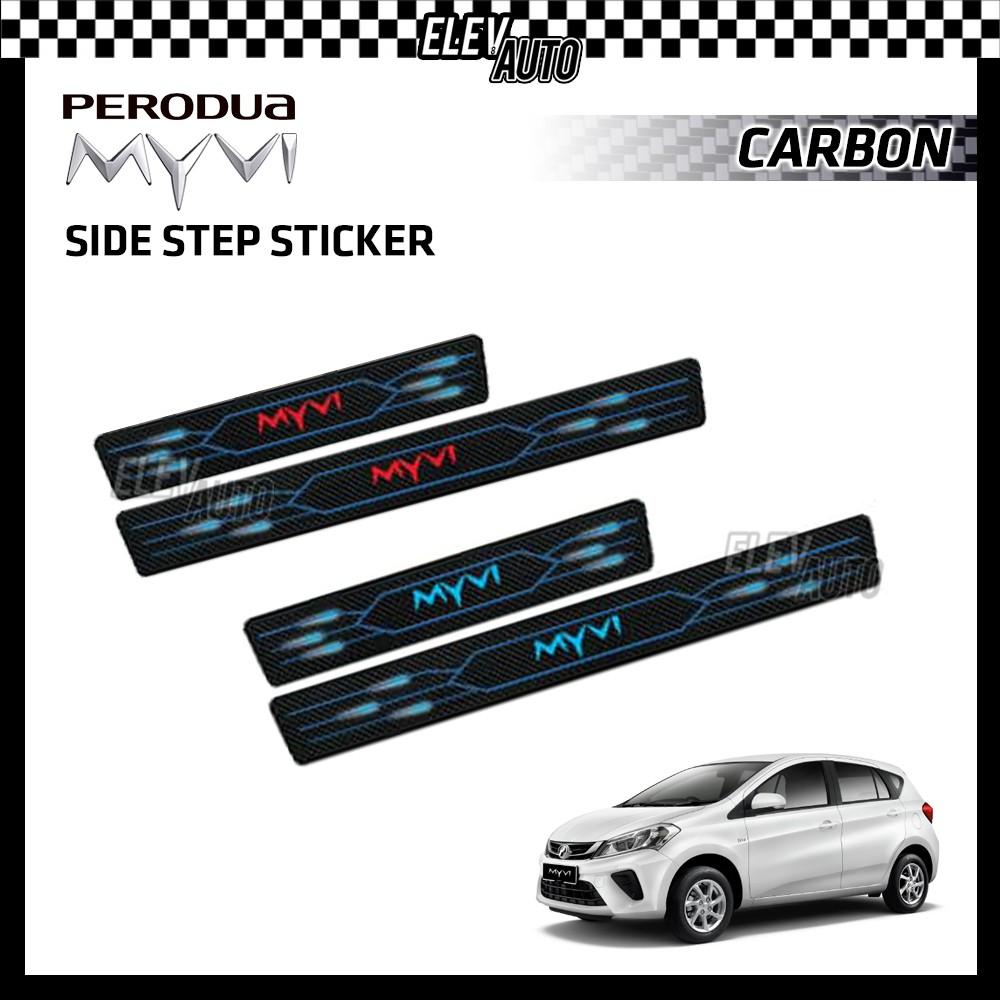 PERODUA Carbon Side Step Leather Sticker 3D Door Step Side Sill Plate Myvi Axia Bezza Alza Aruz Ativa Viva Accessories