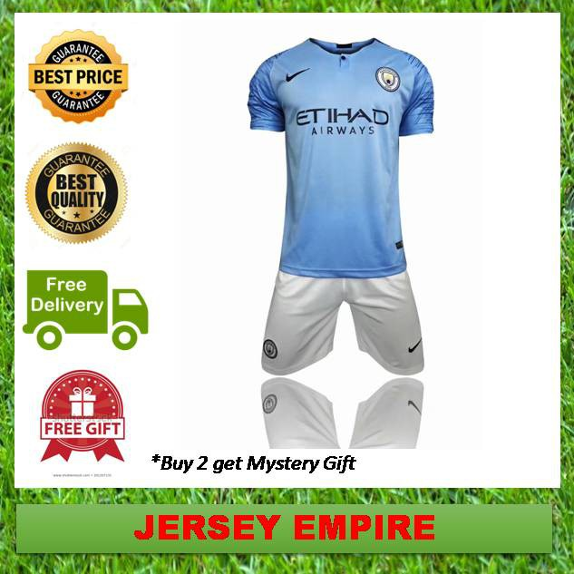 new product 8cb03 ac3c4 (Ready Stock) Manchester City Football Jersey Home Kit 18/19 Nike  [TOP+PANTS]