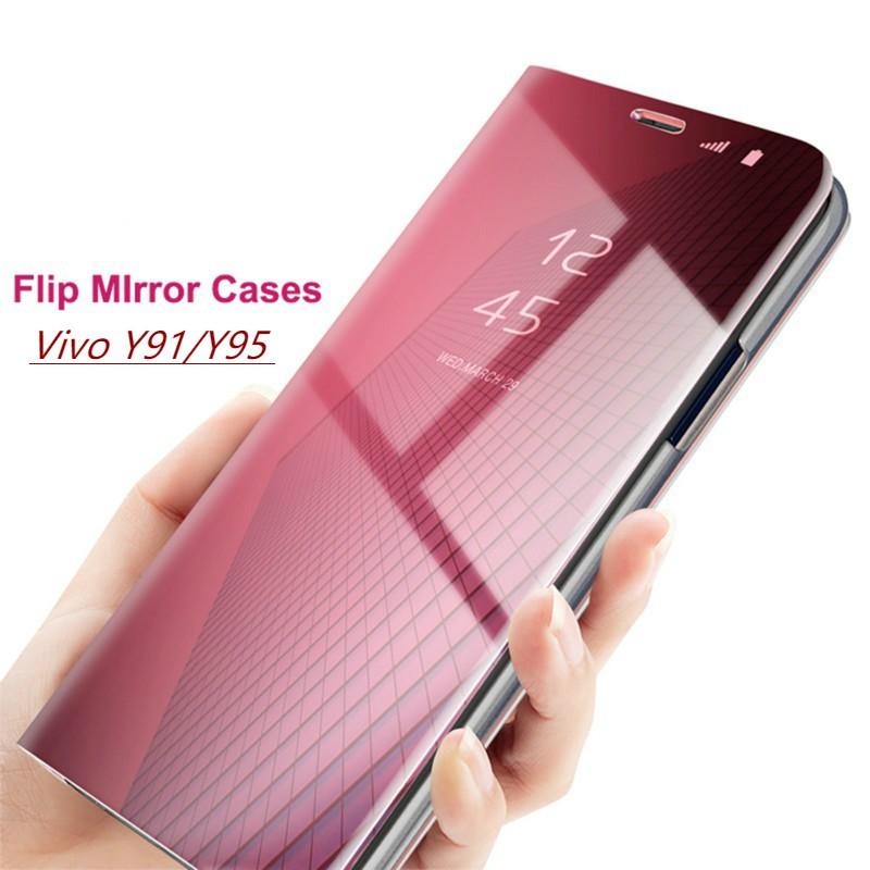 Casing VIVO Y91 Y95 Case Smart Mirror Flip Clear Hard Cover