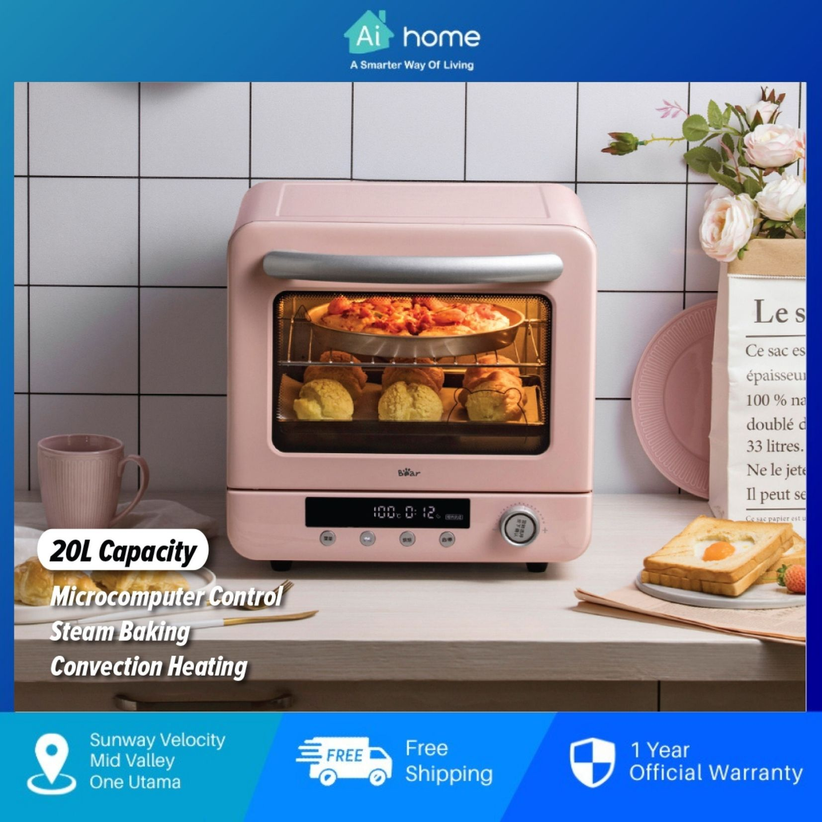 Bear Air fryer Steam Oven 20L BSO-P200L - 1300W | Cyclone Thermal | Water Steam Baking | Microcomputer Control [Aihome]