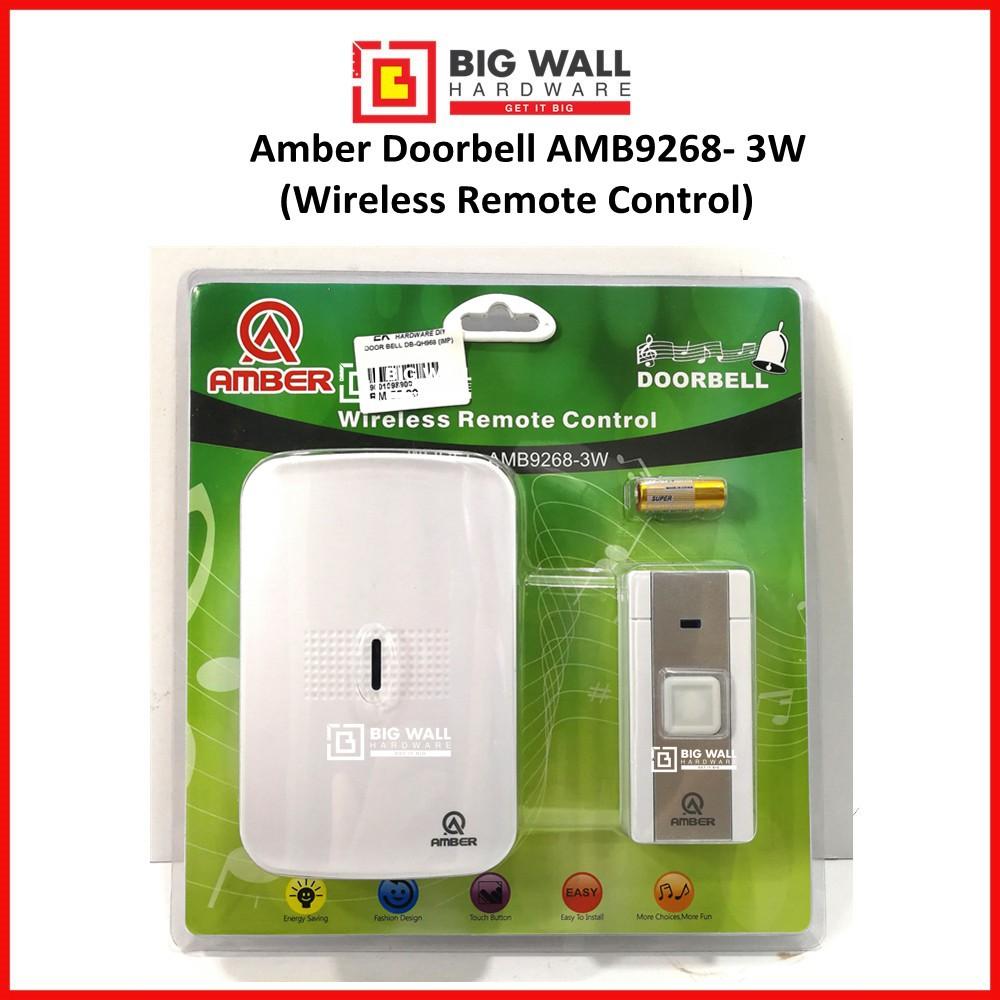 Amber Doorbell 3 Pins (Wireless Remote Control) AMB9268-3W Suis Loceng Pintu (Big Wall Hardware)