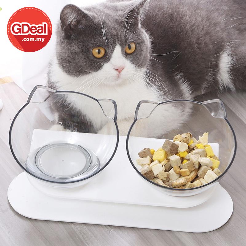 GDeal Pet Food Feeding Non Slip Cat Design Double Bowl Feeder Mangkuk Kucing مڠكوك كوچيڠ