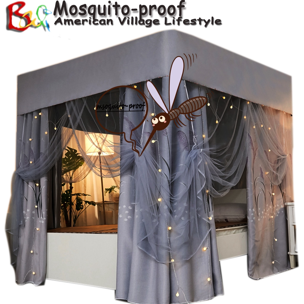 95 Lightproof 4 Corner Post Bed Curtain Canopy With Mosquito Net Windproof Bed Canopy Bedroom Privacy Protection Decoration For Adults Girls Boys Teen Gift Shopee Malaysia