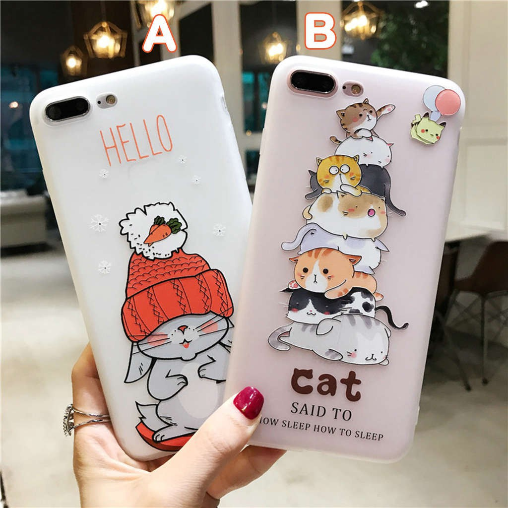 d081a1585a Cute 3D CAT Case iPhone 5 5s SE X 8 7 6 6s Plus Soft i Phone Back Casing  Cover