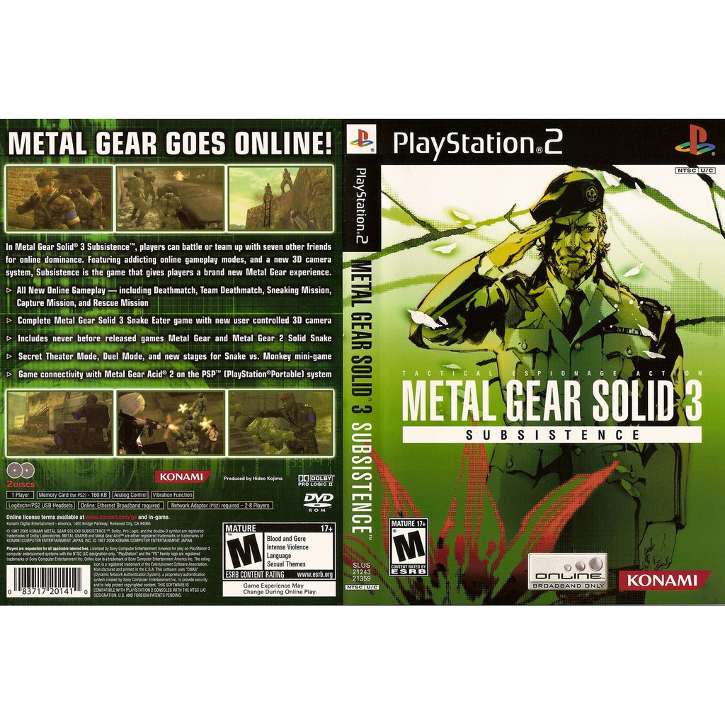 PS2 Meal Gear Solid 3 Subsistence (2 Disc)