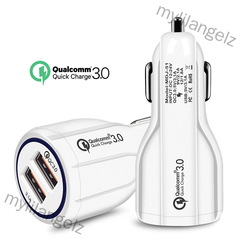 Mylilangelz Quick Charge 3.0 Car Charger 2 Ports USB Fast Dual Adapter for Phone