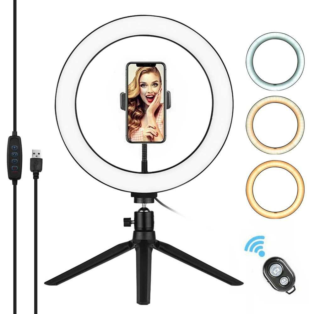 10 Inch LED Ring Light with Tripod Stand Phone Holder Remote Control 3200K-5500K Dimmable Table Camera Light Lamp 3 Lig