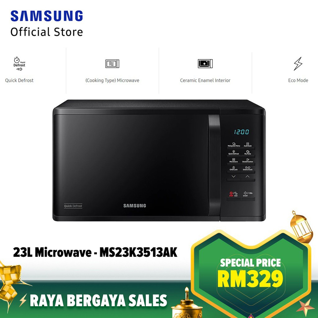 Samsung 23L (MS23K3513AK) Solo Microwave Oven With Quick