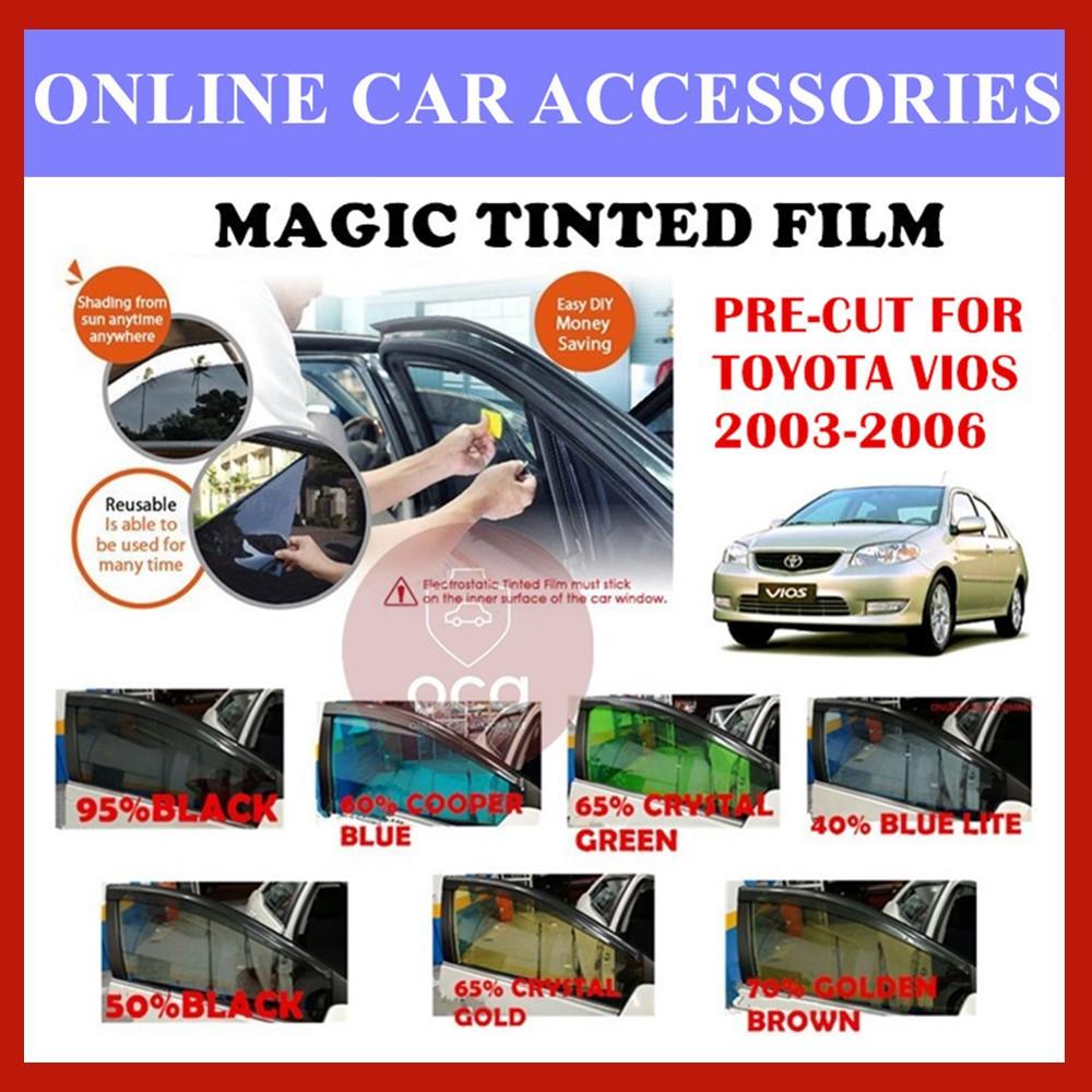 Toyota Vios 2003-2006  - Pre-Cut Shape Magic Tinted Solar Tinted (4 Windows & 2 Triangle /4 Windows+Rear)