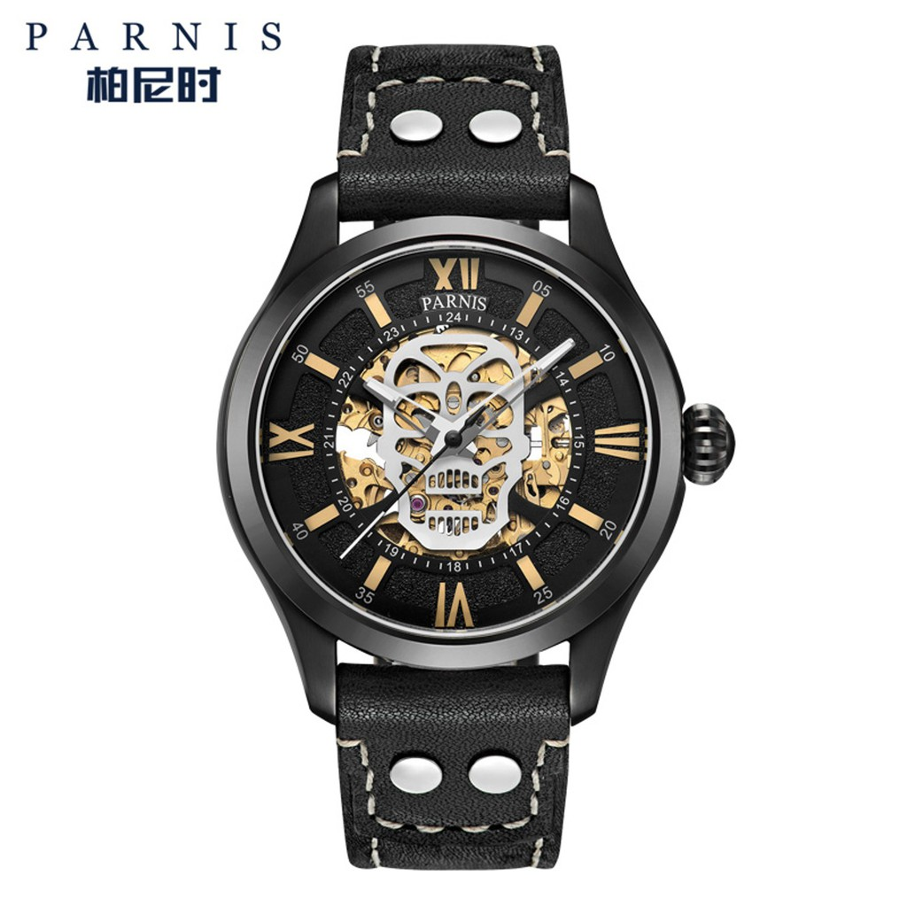 0622e7350c9  1 YEAR PARNIS WARRANTY  PARNIS PA767 LEATHER AUTOMATIC MECHANICAL WATCH