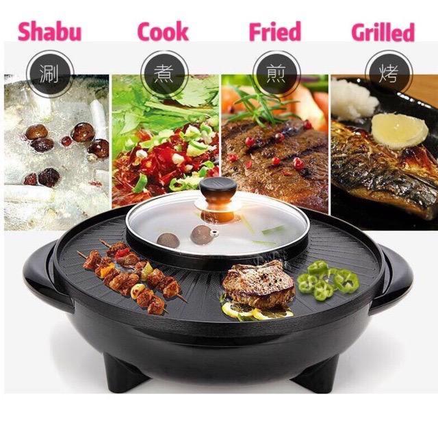 【ready stock】2 IN 1 Korea Electic Stone Non Stick BBQ Grill Pan And Shabu Steamboat