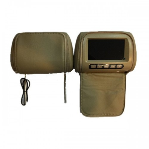 7 inch LCD Color Monitor Headrest With Universal Mounting Pillow Beige/Black