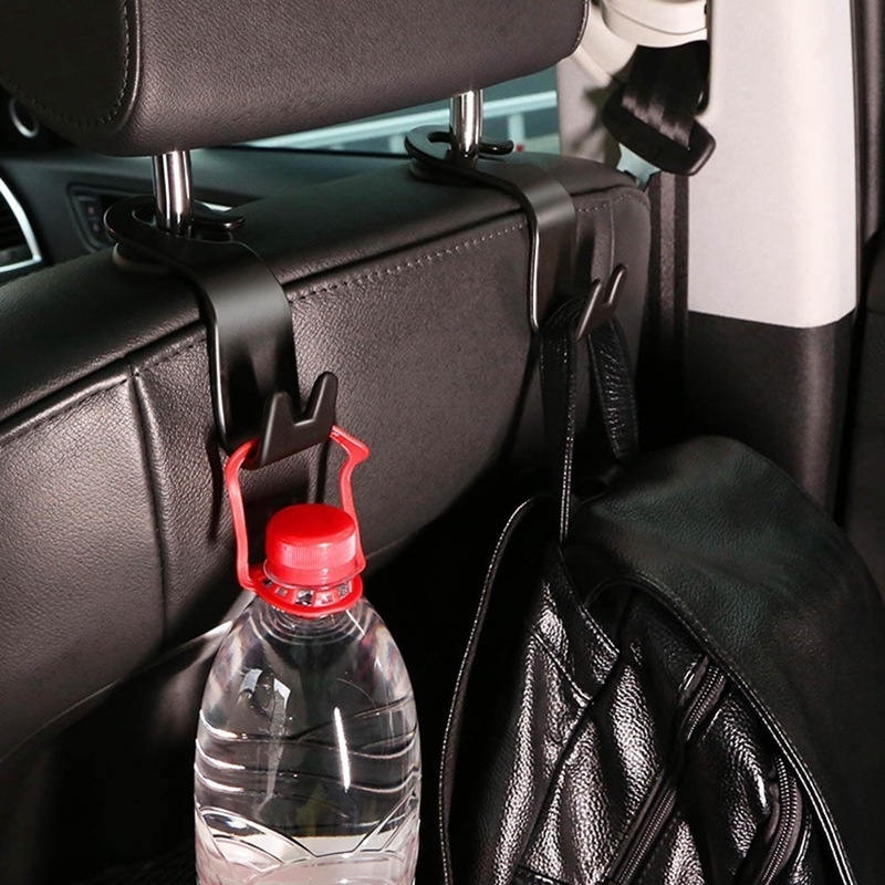 2PCS Car Seat Back Storage Double Hook Sundries Holder Hanger Bag Coat Organizer
