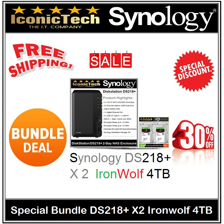 Special Bundle Synology DS218+ X2units IronWolf 4TB Nas HD (100% Genuine  Ori)