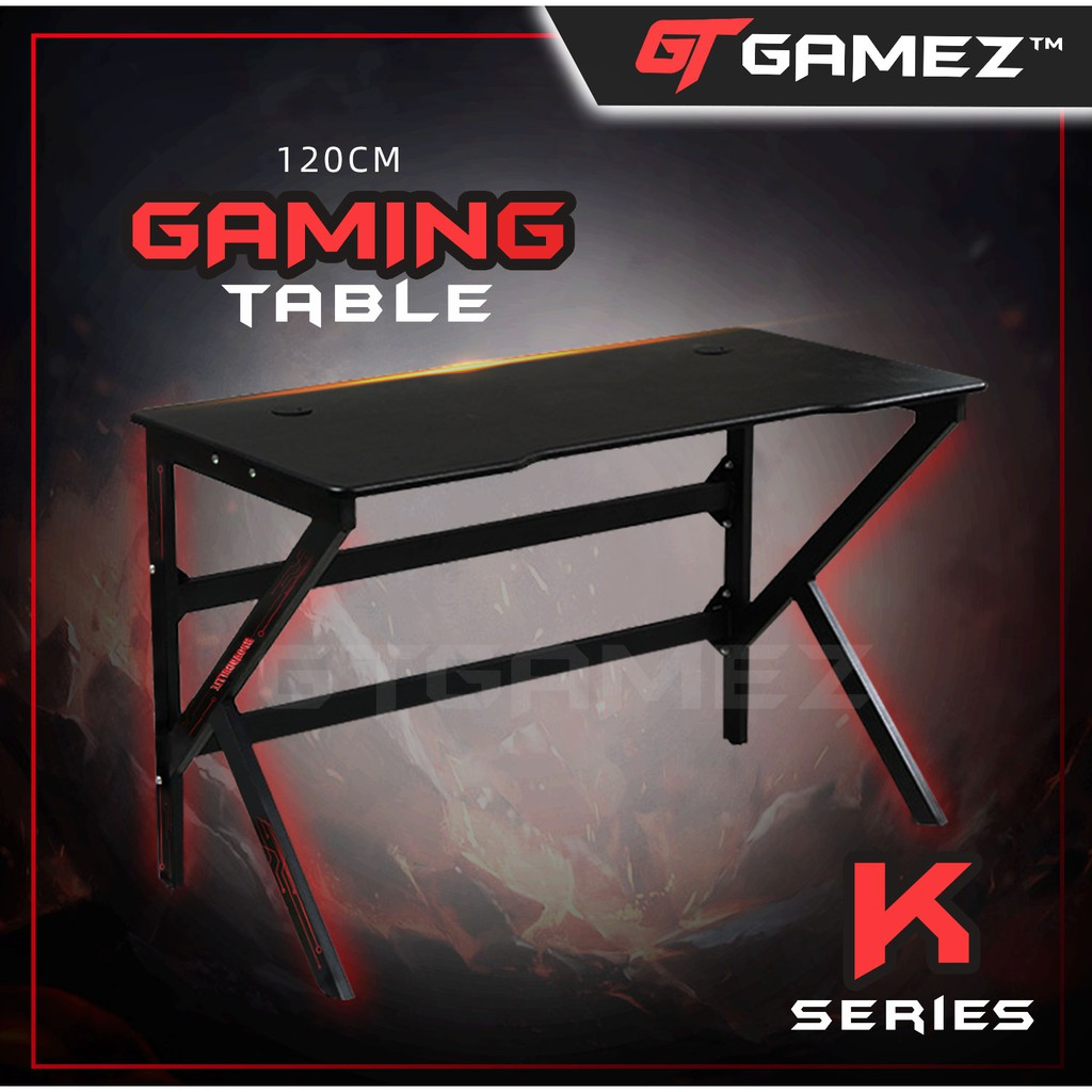 GTGAMEZ K Series Modern Simple E-sports Gaming Table / Gaming Desk - HMZ-GT-JF-12060/14060-KL-BK