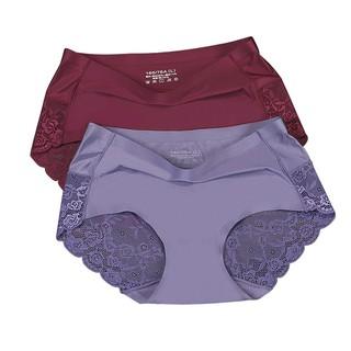 7a34f47113 2 Pack Womens Panties Seamless Lace Underwear Women Briefs Satin Silk Panty
