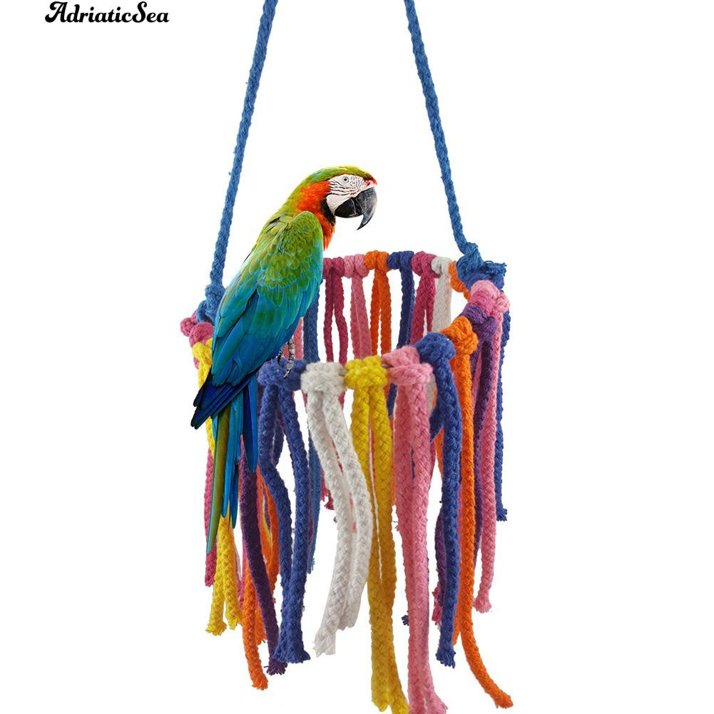 Parrot Bird Bite Chew Toy Stainless Steel Cotton Cage Swing Rope Climbing