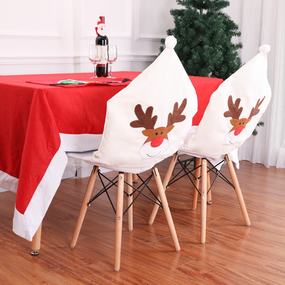 Christmas Chair Back Covers.Christmas Chair Cover Xmas Home Party Dinner Banquet Elk Seat Back Covers