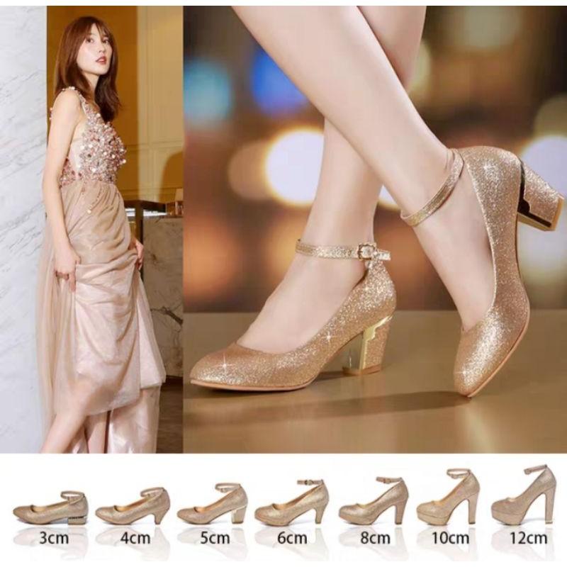 W57 Po Gold Glitter Wedding Heels Shoes Kasut Kahwin Kasut Pengantin Shopee Malaysia