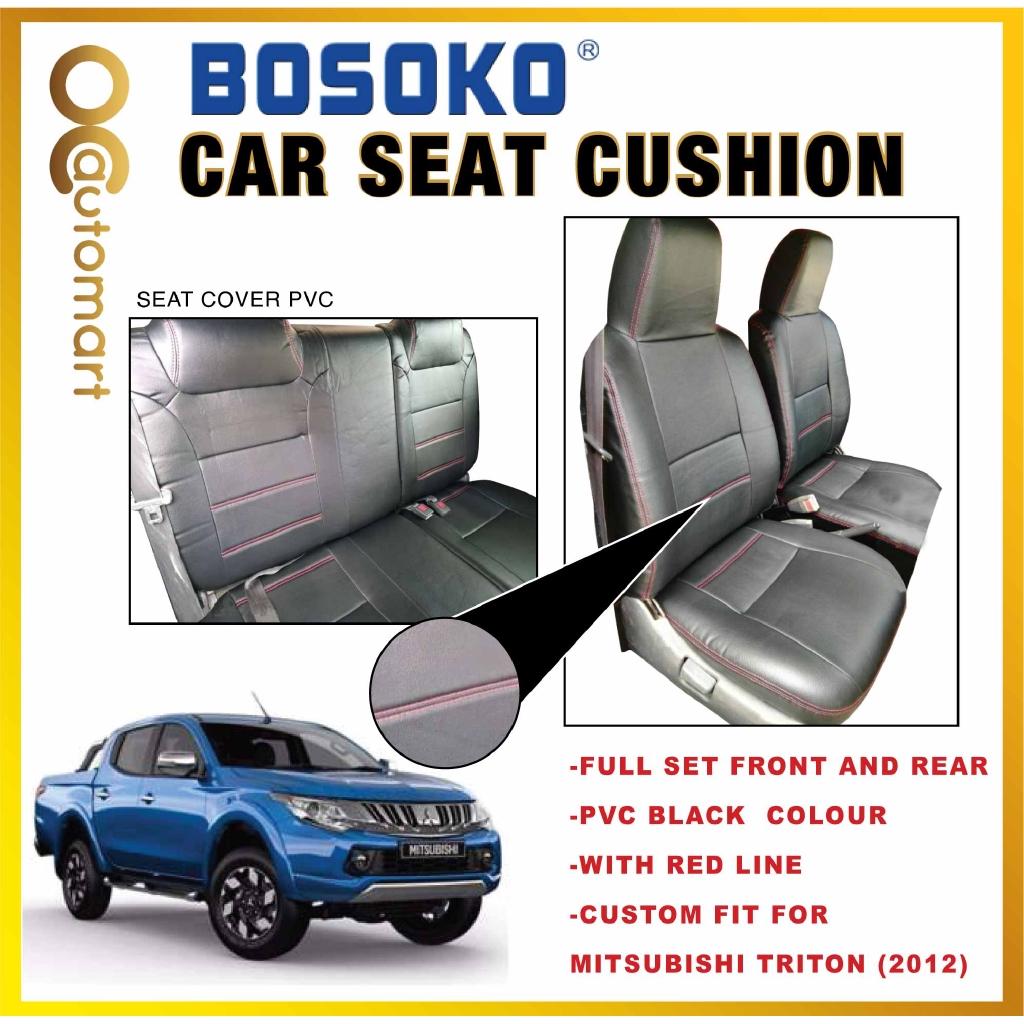 Mitsubishi Triton Yr 2012-2015 - Custom Fit OEM Car Seat Cushion Cover PVC Black Colour Shining With Red Line